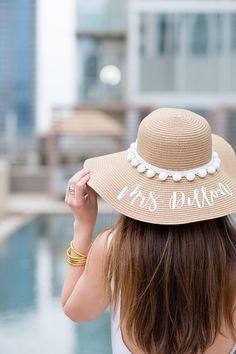 f8ea7ecff Custom Bride/Honeymoon Pom Pom Floppy Beach Hat // Bachelorette Trip //  Honeymoon