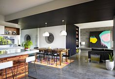Bold use of black in a space.  When applied in a right amount and combined/balanced with warmer colours, black does look very cool.  (Coastal black house in Australia)