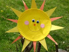 Paper Plate Sun    Sunshine just screams summer! Kids can bring some sunny rays into your own home, day or night, by making this easy craft.    • View the full Paper Plate Sun instructions  Basic Materials: Paper plate, paint, construction paper, sponge