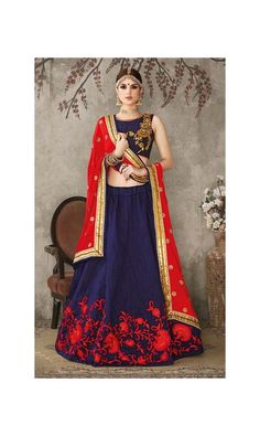Appealing Blue Pure Silk Heavy Embroidered Lehenga Choli