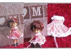 Crocheted dress on a doll Fairyland pukifee Luna bjd free Fairy Land, Bjd, Teddy Bear, Dolls, Crochet, Cotton, Animals, Free, Etsy