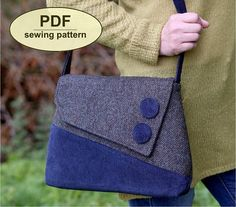 Sedgeford Bag - PDF sewing pattern from Charlie's Aunt DesignsThe simple clean lines of this handbag design by Charlie's Aunt Designs are similar to the styles seen during the with a modern. [caption id= align=aligncenter Advertisement[/caption] Pdf Sewing Patterns, Quilting Patterns, Diy Purse Patterns, Denim Bag, Fabric Bags, Sewing Projects For Beginners, Lining Fabric, Sewing Hacks, Sewing Tips