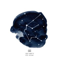 10cea982d95 Giclee print of an original painting by Jessica Rowe.Aquarius constellation  with symbol and dates in roman numerals.