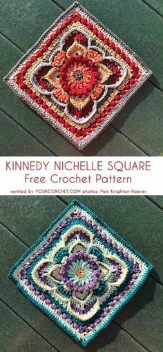 Kinnedy Nichelle Square Free Crochet Pattern Crochet Heart Granny Square Free PatternsTropical Delight – Crochet Square and Inch Solid Granny Square – Free Crochet Pattern Crochet Pattern Free, Granny Square Crochet Pattern, Crochet Blocks, Crochet Stitches Patterns, Afghan Crochet, Free Mandala Crochet Patterns, Free Crochet Square, Afghan Patterns, Crochet Square Blanket