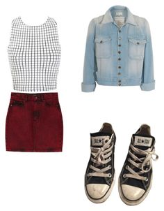 """""""Untitled #41"""" by arimom ❤ liked on Polyvore featuring Monki, Current/Elliott, Miss Selfridge and Converse"""