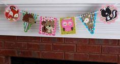 Forest Friends Woodland Wildlife Die Cut Banner ... 6  panels ... skunk squirrel owl deer fox hedgehog .. Pink Turquoise Sage