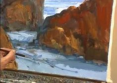 How to Paint Ocean with Rocks - Marge Kinney Art - Video Lessons of Drawing & Painting