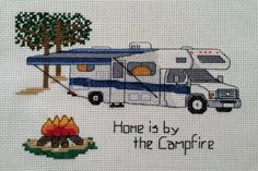 """PATTERN - Camping Counted Cross Stitch - """"Class C - Home is by the Campfire"""""""
