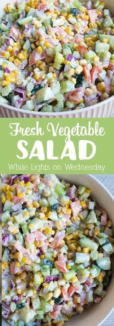 Fresh Vegetable Salad is a quick & easy recipe that's loaded with veggies and tossed in a creamy dressing making it the perfect side dish. FRESH VEGETABLE SALAD Vita Octa Vegetarian for You Fresh Vegetable Salad is a quick & easy re Vegetable Side Dishes, Vegetable Recipes, Vegetable Snacks, Veggie Salads Recipes, Beans Vegetable, Vegetable Appetizers, Side Salad Recipes, Veggie Side, Fruit Recipes