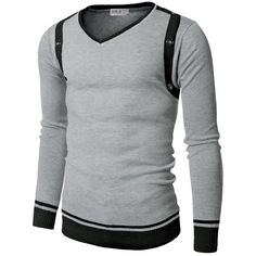 Doublju Mens V-Neck Sweater with Contrast Detail ($7.99) ❤ liked on Polyvore featuring men's fashion, men's clothing, men's sweaters, mens vneck sweater, men's v neck sweater and mens sweaters