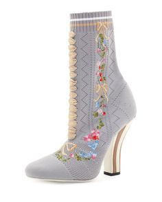 S21ZC Fendi Embroidered Knit 100mm Bootie, Gray