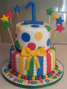 1st Birthday primary color cake