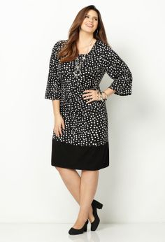 Dot Print Solid Hem Sheath Dress-Plus Size Sheath Dress-Avenue