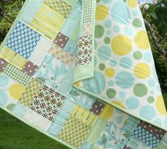 Cluck cluck sew modern baby quilt (disappearing nine patch)