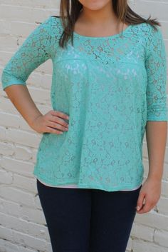 Dreaming of Lace Blouse- Mint $32