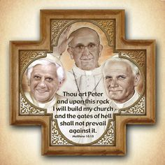 Three Popes Wood Cross , Pope Francis, Pope Benedict XVI, Blessed Pope John Paul II