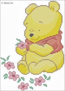Free cross-stitch patterns, Baby Pooh, Winnie the Pooh, bear, animal, Disney, cartoon, cross-stitch, back stitch, cross-stitch scheme, free ...