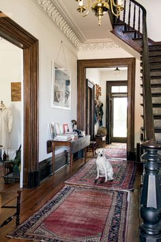 victorian home Photo Credit: Patricia Lyons. Cleo guards the main hallway of a historical North Carolina Victorian home. Stained Wood Trim, Dark Wood Trim, Brown Wood, Dark Brown, Wooden Trim, Southern Homes, Southern Living, Country Living, Country Style
