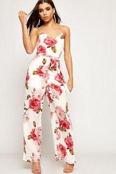 76edc2682e69 Dana Strappy Floral Print Slit Jumpsuit