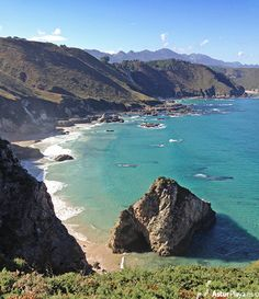 The Cuevas Coloradas (Colored caves) beach in the Mendía cove. Secluded cove in Asturias, Spain that I am delighted to present to you.