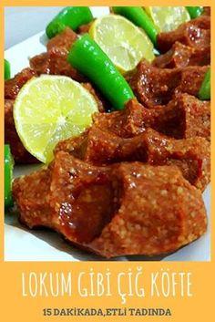 Raw Meatballs like Turkish Delight with Meat in 15 Minutes – Yummy Recipes - Fleisch Yummy Recipes, Meat Recipes, Yummy Food, Grilling Recipes, Turkish Delight, Bulgur Salad, Albondigas, Iftar, Turkish Recipes