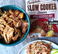 Apple Bourbon BBQ Pork Sandwiches - This sauce is amazing. Making it tonight. - March 02 2019 at Slow Cooker Apples, Slow Cooker Bbq, Slow Cooker Recipes, Crockpot Recipes, Cambells Recipes, Bbq Pork Sandwiches, Campbells Soup Recipes, Apple Bourbon, Crockpot Chicken Healthy