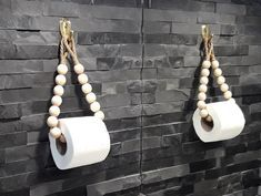 Handmade Home Decor 84784 A wonderful eco-friendly toilet paper holder made of round wooden beads and a jute rope. Perfect for any bathroom. This holder can be used as a toilet paper holder or as a towel holder. Bathroom Layout, Modern Bathroom, Eco Bathroom, Towel Holder Bathroom, Bathroom Ideas, Handmade Home Decor, Diy Home Decor, Beaded Garland, Dream Bathrooms