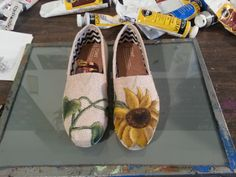 Sun Flower Custom Painted Toms  Hearts and Sunflower