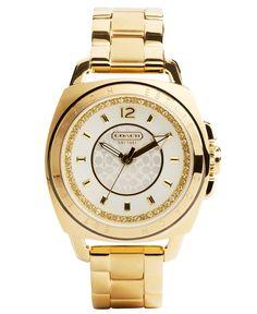 COACH BOYFRIEND BRACELET GOLD CRYSTAL WATCH - Coach Watches - Handbags & Accessories - Macy's