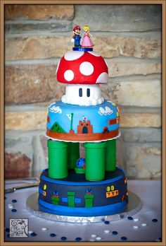 Super Mario Bros. Wedding cake! This would be cute for a bday party too