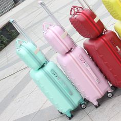"""20 """"24"""" inch women candy color universal wheels rolling hard shell carry luggage travel bag trolly suitcase sets, factory direct – Bags And Shoes"""