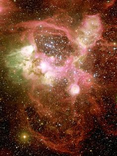 "The central region of #N44 | The intricate and colorful nebula is produced by the ionized gas that shines electrons and positively charged recombining, emitting a cascade of photons in a particular wavelength atomic nuclei. Such nebulae are called ""H II regions"", meaning ionized hydrogen, i.e. hydrogen atoms that have lost an electron (proton). Their spectra are characterized by the emission lines whose relative intensities carry useful information about the composition, temperature, and.."