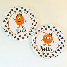 personalized melamine plate kids - custom dish halloween monster girl  sc 1 st  Pinterest & Melamine Plate and Bowl Set - leopard bird custom melamine dish set ...