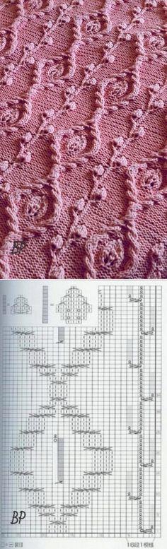 PATTERNS - УЗОРЫ In your piggy bank. Very beautiful knitting pattern. Lace Knitting Patterns, Knitting Stiches, Cable Knitting, Knitting Charts, Knitting Designs, Knitting Yarn, Stitch Patterns, Knit Stitches, Knitting Machine