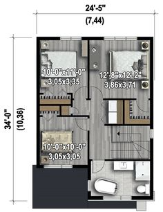 Compact Two-Story Contemporary House Plan - floor plan - Floor Double Storey House Plans, Split Level House Plans, Narrow Lot House Plans, Two Story House Plans, Narrow House, Modern House Plans, Small House Plans, House Floor Plans, Architectural Design House Plans