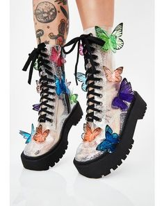 Club Exx Terrarium Butterfly Boots will have ya flyin' through mother nature's wonderland! Life is beautiful in these butterfly combat boots that have an epic clear glitter PVC construction, adjustable lace-ups, and side zip closures. Cute Shoes, Women's Shoes, Me Too Shoes, Shoe Boots, Fall Shoes, Buckle Boots, Combat Boots, Lace Up Boots, Designer Shoes