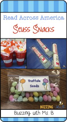 Read about how we made fun Seuss snacks each day: truffula seeds, cat in the hat cheese sticks, hop on pop...corn, and chocolate covered pretzels & oreos! Seuss Snacks: Read Across America snacks! Dr Seuss Snacks, Dr Seuss Activities, Book Activities, Classroom Activities, Classroom Crafts, Kindergarten Literacy, Classroom Ideas, Truffula Seeds, Read Across America Day
