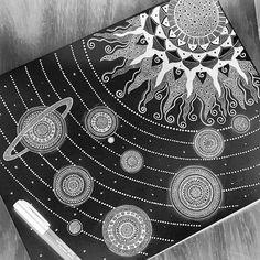 The universe galaxy Home decor art print Mandala Art Lesson, Mandala Drawing, Mandala Artwork, Mandala Canvas, Pencil Art Drawings, Art Sketches, Black Paper Drawing, Universe Art, Galaxy Art