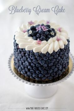 Blueberry Cream Cake By Make Fabulous Cakes #blueberries #cake #cakerecipe #baking #dessertrecipes