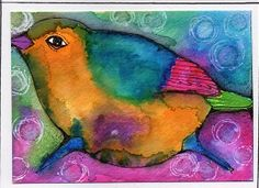 """Fat Wren"" Watercolor ATC by Bonnie Tincup"
