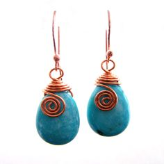 Handmade Blue Turquoise Gemstone copper wire wrapped dangle earring
