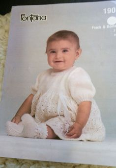 Baby Lacy Frock & Bootees vintage knitting pattern 3 ply yarn #Fontana