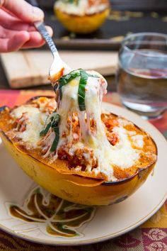 Lasagna Stuffed Spaghetti Squash/This is awesome!!!! I used crumbled chicken sausage for the sauce. We loved this and will make again..