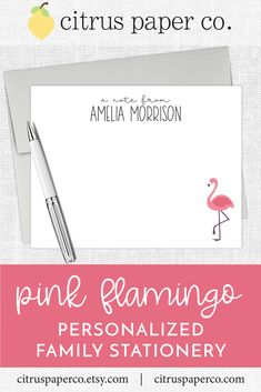 Personalized stationery, just for kids!  Each set of flat note cards is printed on high-quality white cardstock, includes your choice of envelopes, and is packaged in a crystal clear box.  Perfect for casual correspondence or thank you notes, these note cards make the perfect gift!  \\ girls stationery \\ kids stationery \\ flamingo \\ pink flamingo \\ preppy