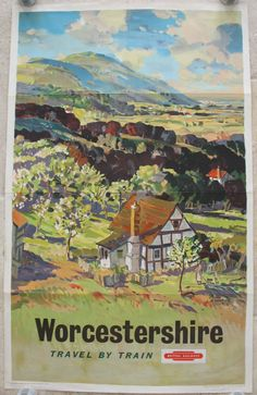 Worcestershire, by Leslie Arthur Wilcox. The lush green countryside of the Severn Valley with the Malvern Hills in the background. It is one of the last series of Western Region artist-produced county views before photography and graphics took over. Original Vintage Railway Poster available on originalrailwayposters.co.uk