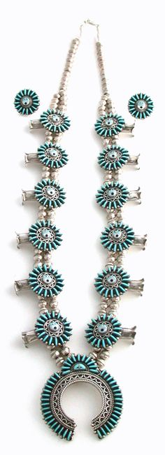 Earrings and Squash Blossom Necklace | H Meliken (Zuni).   Sterling silver and turquoise