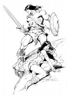 Conan and friend by John Buscema