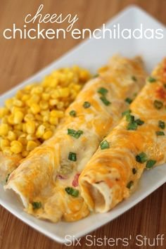 Cheesy Chicken Enchiladas from SixSistersStuff.com.  These enchiladas are AMAZING and so easy to make! #sixsistersstuff