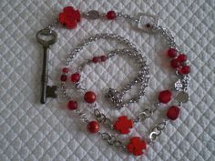 Vintage skeleton key rosary necklace red by etceterahandcrafted Rosary Necklace, Vintage Keys, Unique Necklaces, Statement Jewelry, Valentine Day Gifts, Skeleton, Gift Guide, Beads, Crystals