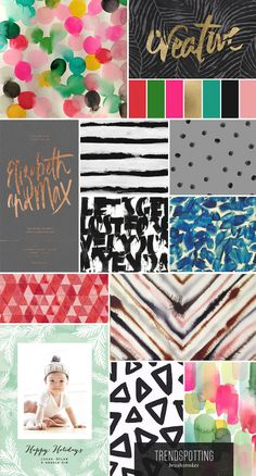 The brushstrokes stationery trend for winter and holiday 2014 - 2015. Bold, colorful, hand drawn.